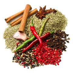 Powder spices  in white background
