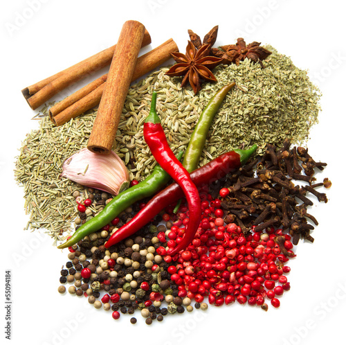 Powder spices  in white background
