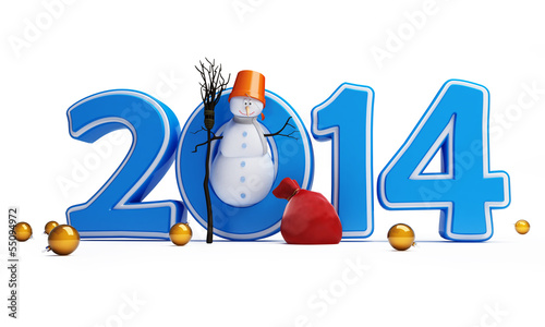 snowmen happy new year 2014 on a white background