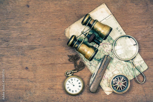 Vintage binoculars, compass, map, magnifying, watches, knife