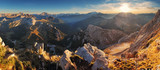 Fototapety Mountain sunset panorama landscape - in Italy Alps - Dolomites