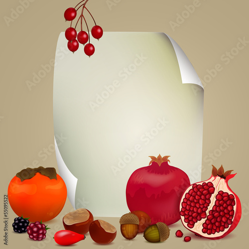 Vector Illustration of Autumnal Nature Elements