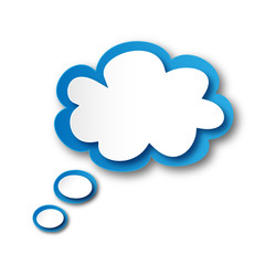 Thought Bubble Icon (speech balloon dream button blank template)
