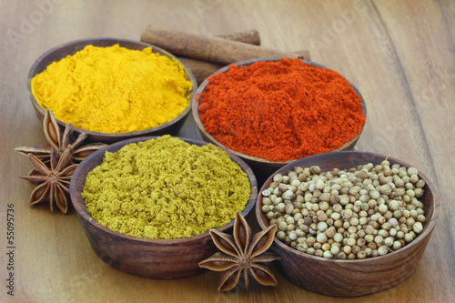Selection of Indian spices on wooden background, close up