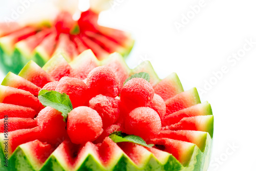 Watermelon. Fruit Salad. Fresh and Ripe Watermelon Balls