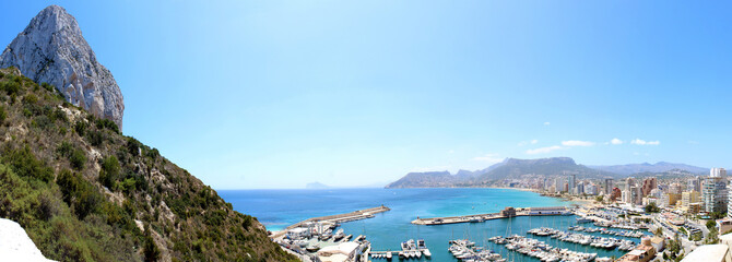 View over Calp beach and famous Natural Park of Penon de Ifach