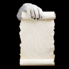 Mummy in hands keeps manuscript