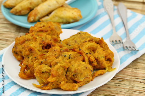 Indian pakoras and samosas