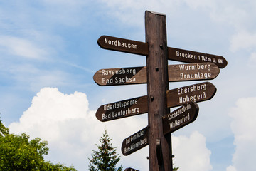 fingerpost in Harz, Germany