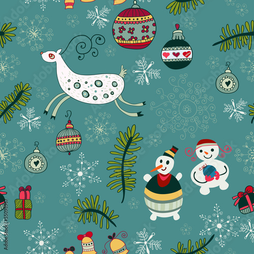 Cotton fabric Christmas hand drawn texture with cute  Santa deer