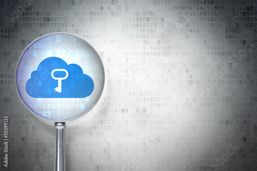 Cloud computing concept:  Cloud With Key with optical glass on d