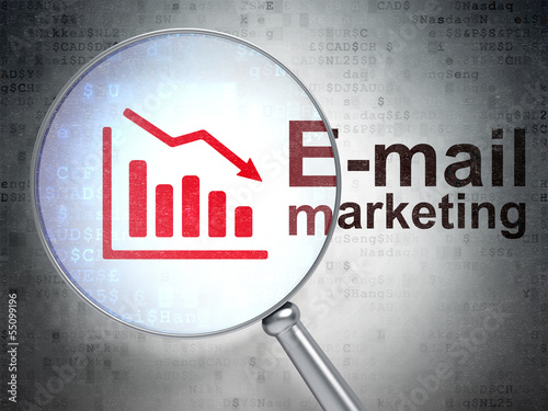 Advertising concept: Decline Graph and E-mail Marketing with opt