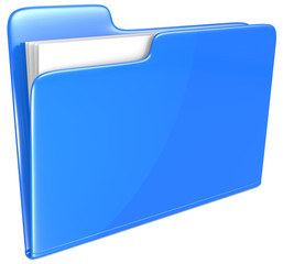 Blue Folder. Open folder with papers. Blue.