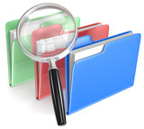 Search.Magnifying Glass over 3 folders.Blue, red, and green.