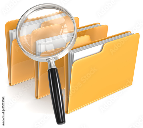 Search. Magnifying Glass over 3 folders. Orange.