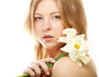 teen girl with flower narcissus