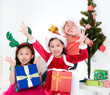 Asian kids celebrating christmas