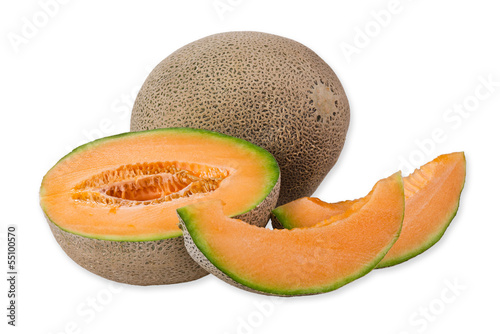 Cantaloupe melon and slices over white