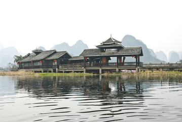 Minority style buildings, Yangshuo, Baishai, Guilin, China