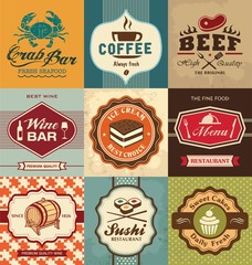 Set of vintage retro labels for food
