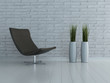 Modern chair against white brick wall