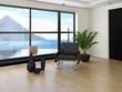 Modern loft interior with black chair against huge window