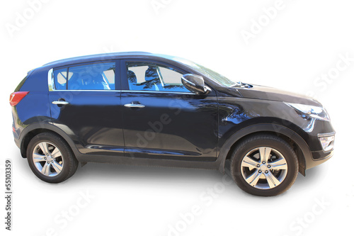 SUV on white background