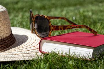 Summer accessories on a grass