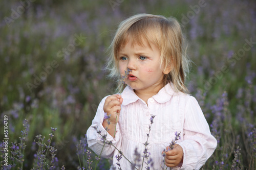 beautiful little girl in a lavender field
