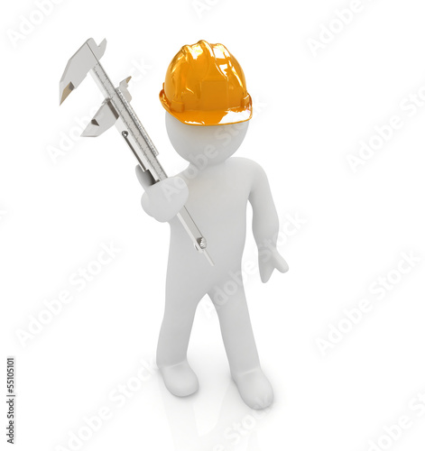 3d man engineer in hard hat with vernier caliper