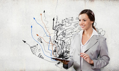 Businesswoman with ipad
