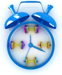 Alarm clock icon with dumbbells. Sport concept