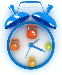 Alarm clock icon with kettlebells. Sport concept