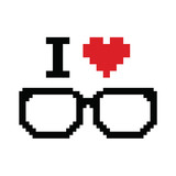I love geeks pixelated, retro sign