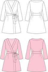 Vector fashion illustration of women's dressing gown