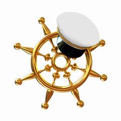 Marine cap on gold marine steering wheel