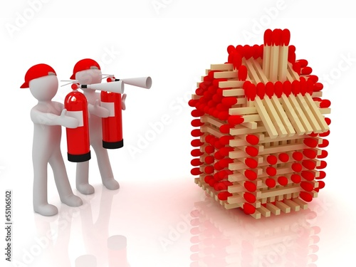 3d man with red fire extinguisher and log houses from matches
