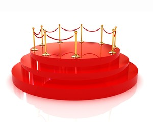 3D glossy podium with gold handrail