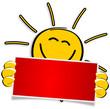 Sonne mit rotem Schild