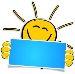 Sonne mit blauem Schild