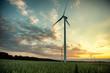 wind turbines at sunset - 55108385