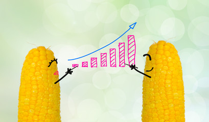 couple corn drawing business graph