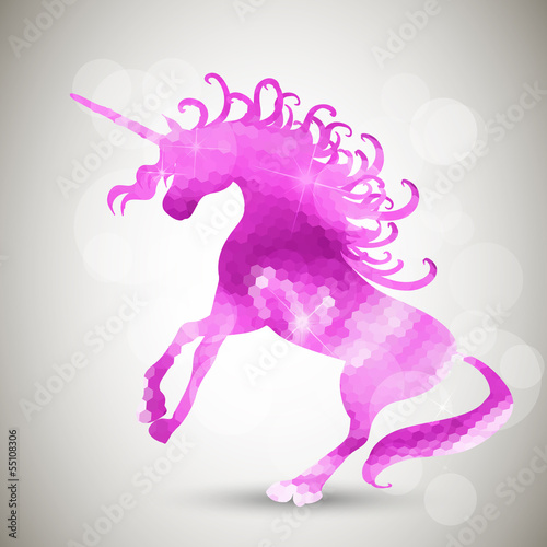 Abstract geometric background with unicorn
