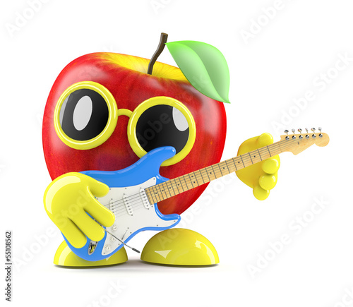 3d Apple plays electric guitar