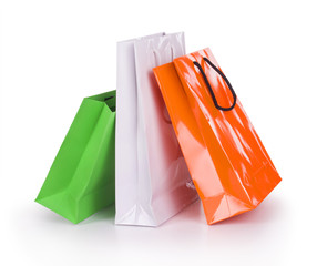Colourful paper shopping bags isolated