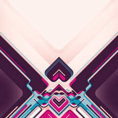 Abstract design with colorful objects.