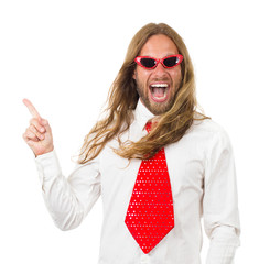 Funny hippie man pointing at copyspace isolated on white