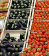 boxes full of fresh fruits and vegetables in the market 1