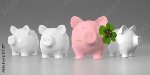 canvas print picture Piggy bank -  raw with big pink pig with clover