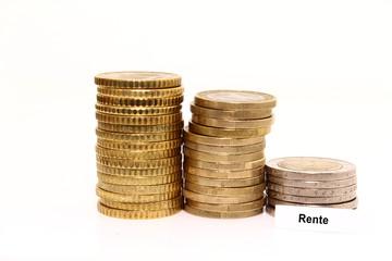 Rente Euro münzen isoliert
